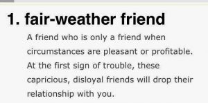 Fair Weather Friend Def 1